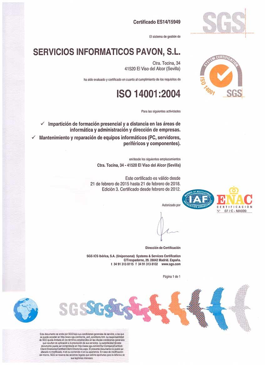 CALIDAD - Certificado de Medio Ambiente